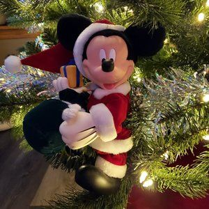 Adorable Animated Mickey Mouse Santa Ornament